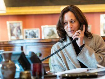 Vice President Kamala Harris talks on the phone with French President Emmanuel Macron Monday, Feb. 15, 2021, at the Blair House in Washington, D.C.