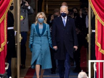 President-elect Joe Biden and Dr. Jill Biden arrive to the inaugural platform Wednesday, Jan. 20, 2021, for the 59th Presidential Inauguration at the U.S. Capitol in Washington, D.C.
