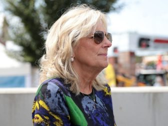 Former Second Lady of the United States Jill Biden at the Des Moines Register's Political Soapbox at the 2019 Iowa State Fair in Des Moines, Iowa.