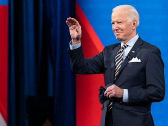 President Joe Biden waves to the guests during a CNN Town Hall with Anderson Cooper Monday, Feb. 16, 2021, at the Pabst Theater in Milwaukee, Wisconsin.
