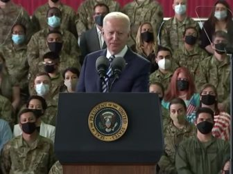 President Joe Biden delivers remarks to American forces at Royal Air Force Mildenhall in the United Kingdom on Wednesday.