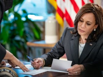 Vice President Kamala Harris meets with Symone Sanders, Senior Advisor and Chief Spokesperson for the Vice President, Wednesday, May 12, 2021, in the Eisenhower Executive Office Building at the White House.