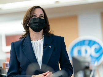 Vice President Kamala Harris listens during a briefing Friday, March 19, 2021, at the CDC Headquarters in Atlanta.