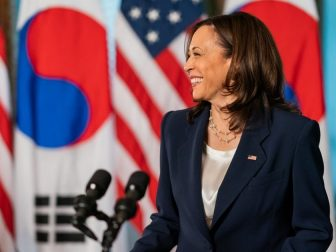 Vice President Kamala Harris greets South Korean President Moon Jae-in Friday, May 21, 2021, in the Vice President's Ceremonial Office in the Eisenhower Executive Office Building at the White House.