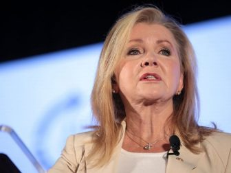 U.S. Senator Marsha Blackburn speaking with attendees at the 2019 Teen Student Action Summit hosted by Turning Point USA at the Marriott Marquis in Washington, D.C.
