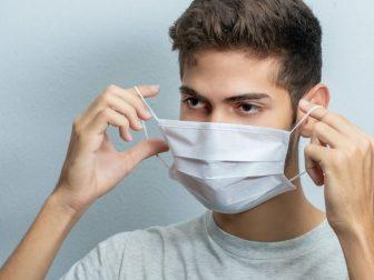 Man using mask for coronavirus.