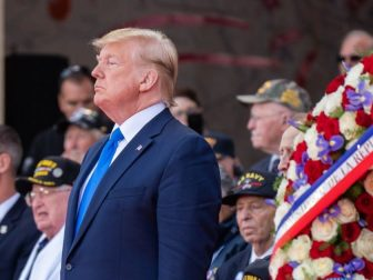President Donald J. Trump honors those who made the greatest sacrifice during the 75th Commemoration of D-Day Thursday, June 6, 2019, at the Normandy American Cemetery in Normandy, France.