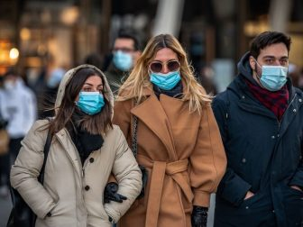 People out for a walk during the Covid 19 Pandemic in Milan