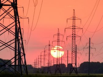 Power lines with the background of a sunset