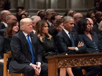 President Donald J. Trump and First Lady Melania Trump join former President Barack Obama and First Lady Michelle Obama, former President Bill Clinton and First Lady Hillary Clinton and former President Jimmy Carter and First Lady Rosalynn Carter at the funeral service for former President George H. W. Bush Wednesday, Dec. 5, 2018, at the Washington National Cathedral in Washington, D.C. (Official White House Photo by Andrea Hanks)