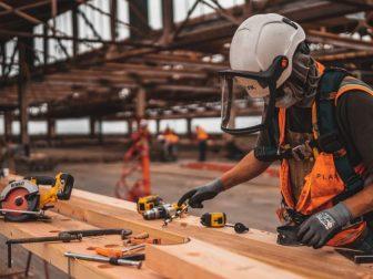 Construction worker in an orange vest