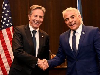 U.S. Secretary of State Antony Blinken meets with Israeli Opposition Leader, Yesh Atid Chairman Yair Lapid, in Jerusalem, May 25, 2021.