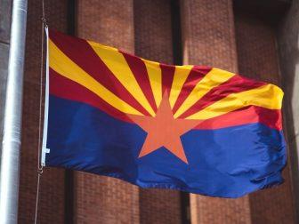 Flag of Arizona, across from Wesley Bolin Memorial Plaza.