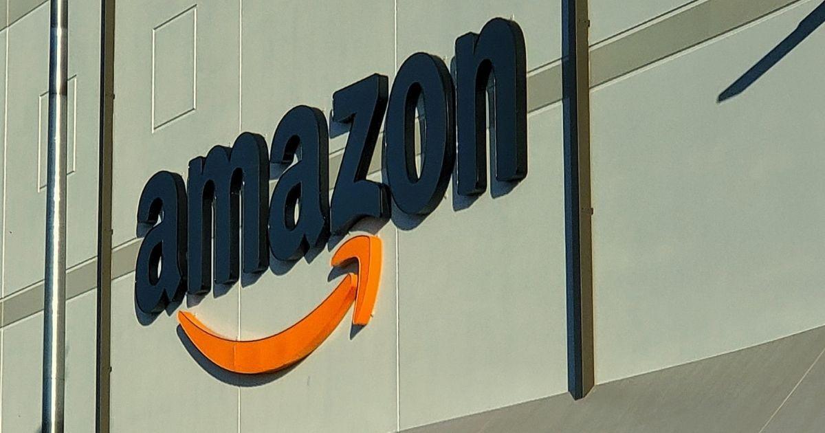 Amazon logo on a distribution center