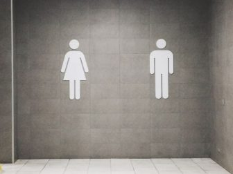 Public bathroom with men and women signs