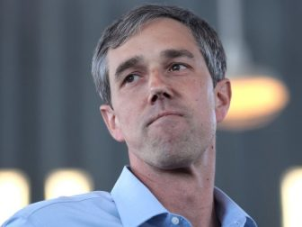 Former U.S. Congressman Beto O'Rourke speaking with supporters at a town hall at The Churchill in Phoenix, Arizona