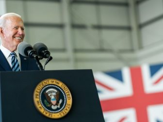 President Joe Biden delivers remarks to Air Force personnel and their families on Wednesday, June 9, 2021, at Royal Air Force Mildenhall, England. (Official White House Photo by Adam Schultz)