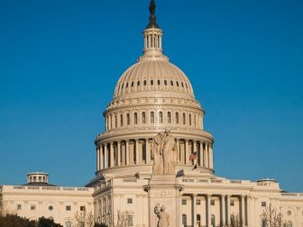 United States Capital Building in Washington DC is mostly empty during the Coronavirus pandemic
