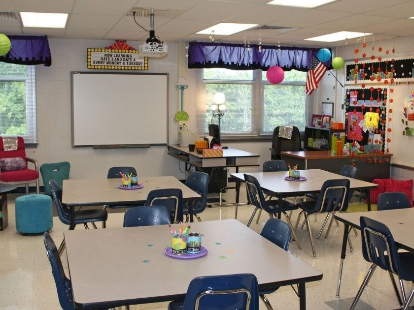The above stock image photo shows a school classroom.