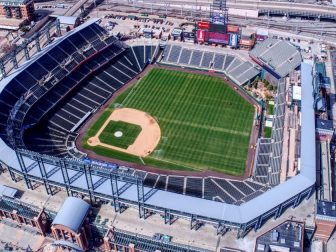 Coors Field, site of the 2021 All Star Game, from altitude