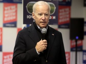 Former Vice President of the United States Joe Biden speaking with supporters at a phone bank at his presidential campaign office in Des Moines, Iowa