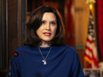 Michigan Gov. Gretchen Whitmer holds a news conference on March 30.