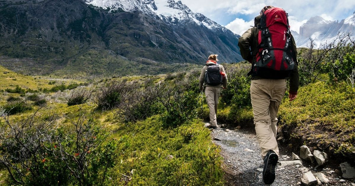 Hikers on a trek in the mountains