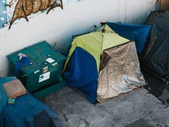 Tents in an alleyway