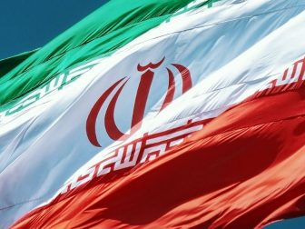 Closeup of Iran flag waving