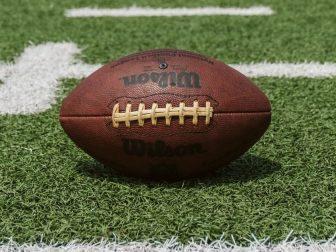Brown Wilson football on green grass