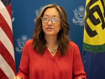 Acting Assistant Secretary for Western Hemisphere Affairs Julie J. Chung joins Secretary Blinken's virtual roundtable with Foreign Ministers of the Caribbean Community (CARICOM), from the U.S. Department of State in Washington, D.C. on April 21, 2021.