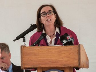 Governor Kate Brown provides remarks at the ribbon cutting ceremony.