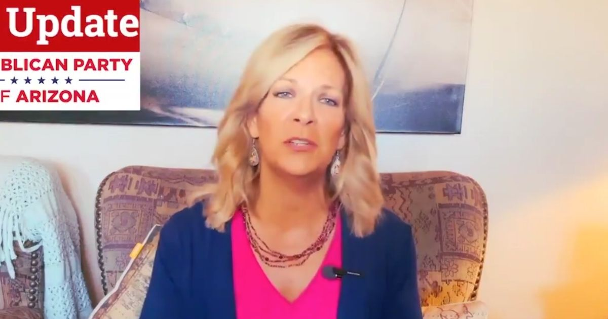 Arizona Republican Party chairwoman Dr. Kelli Ward gives an update on the Arizona election audit on Wednesday.