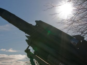 A missile is pictured above.