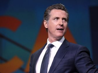 Governor Gavin Newsom speaking with attendees at the 2019 California Democratic Party State Convention at the George R. Moscone Convention Center in San Francisco, California