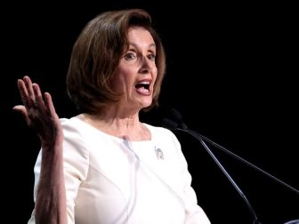 Speaker of the House Nancy Pelosi speaking with attendees at the 2019 California Democratic Party State Convention at the George R. Moscone Convention Center in San Francisco, California