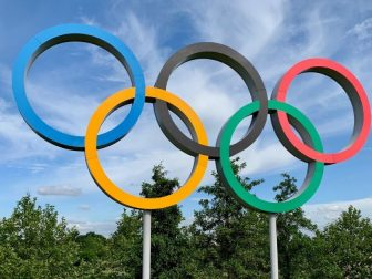 Olympic rings in Queen Elizabeth Olympic Park