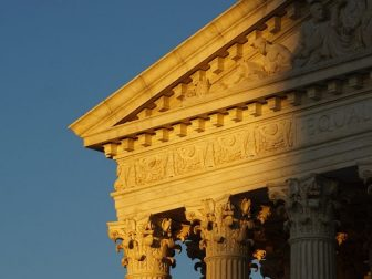 The front façade of the Supreme Court of the United States in Washington, DC.