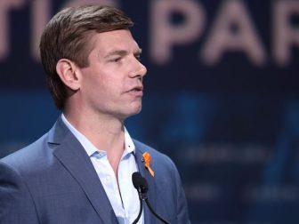 U.S. Congressman Eric Swalwell speaking with attendees at the 2019 California Democratic Party State Convention at the George R. Moscone Convention Center in San Francisco, California.