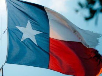 Texas Flag waving in wind