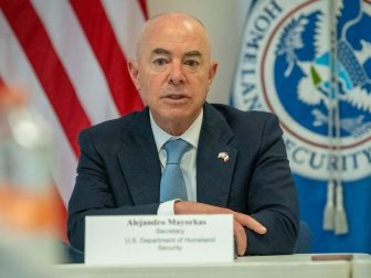 Mexico City (June 15, 2021) Homeland Security Secretary Alejandro Mayorkas leads a press conference at the conclusion of his first official visit to Mexico. (DHS Photo by Zachary Hupp)
