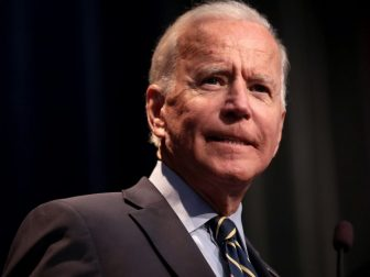 Former Vice President of the United States Joe Biden speaking with attendees at the 2019 Iowa Federation of Labor Convention hosted by the AFL-CIO at the Prairie Meadows Hotel in Altoona, Iowa.