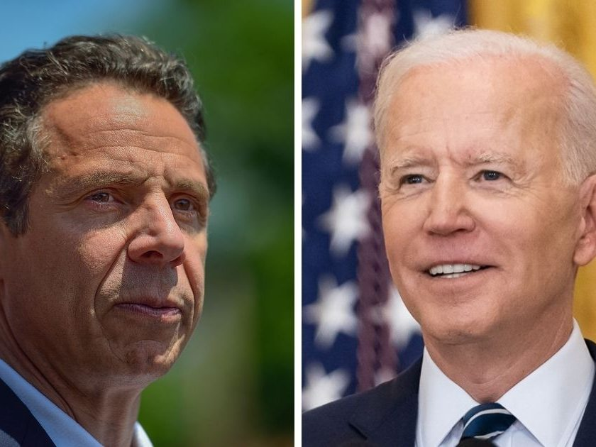President Joe Biden, right, called for Democratic New York Gov. Andrew Cuomo, left, to resign.
