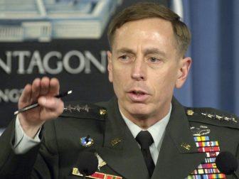 Then-U.S. Army Gen. David H. Petraeus briefs reporters at the Pentagon on April 26, 2007.