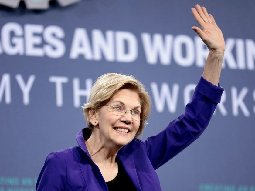 Elizabeth Warren speaks at the 2019 National Forum on Wages and Working People hosted by the Center for the American Progress Action Fund and the SEIU at the Enclave in Las Vegas.