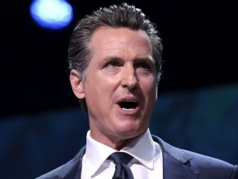 Democratic California Gov. Gavin Newsom speaking with attendees at the 2019 California Democratic PArty State Convention in San Francisco.