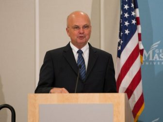 """Former Director of the CIA Gen. Michael Hayden (Ret.) speaks at the """"Intelligence, Policy and Politics: The DCI, White House and Congress"""" conference hosted by the CIA and the George Mason University School of Public Policy."""