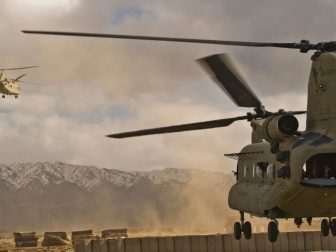 U.S. Army CH-47 Chinook helicopters depart Forward Operating Base Wolverine, Afghanistan, Dec. 15, 2009. (DoD photo by Tech. Sgt. Efren Lopez, U.S. Air Force/Released)