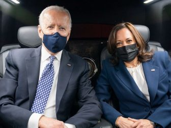President Joe Biden and Vice President Kamala Harris pose for a photo as they ride in the Presidential limousine from Emory University in Atlanta Friday, March 19, 2021, to Peachtree Dekalb Airport. (Official White House Photo by Adam Schultz)