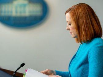 White House press secretary Jen Psaki pauses for a moment as she addresses reporters on April 15.